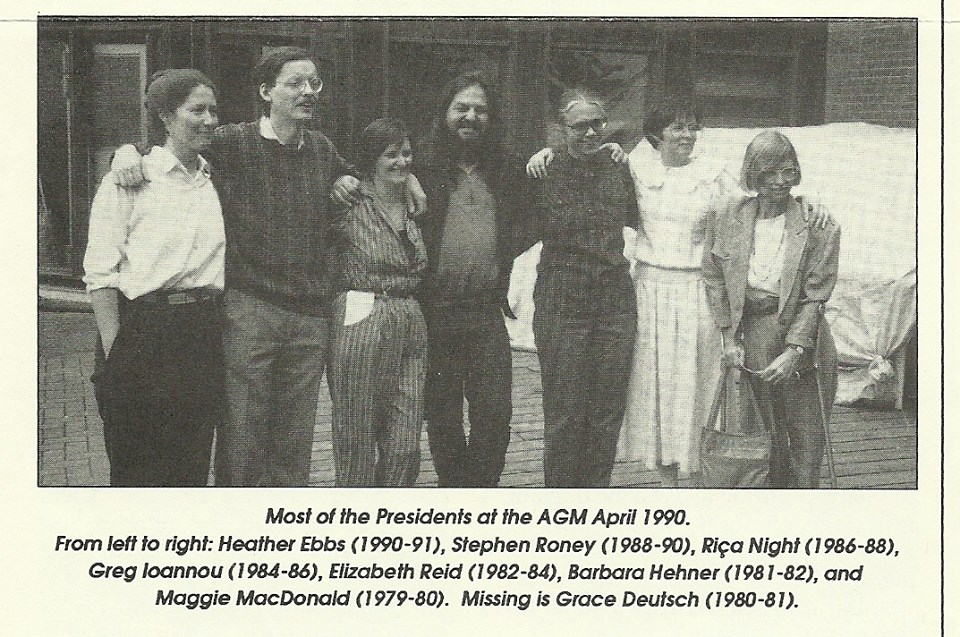 Newspaper photo of most of the presidents of the FEAC at the AGM in April 1990