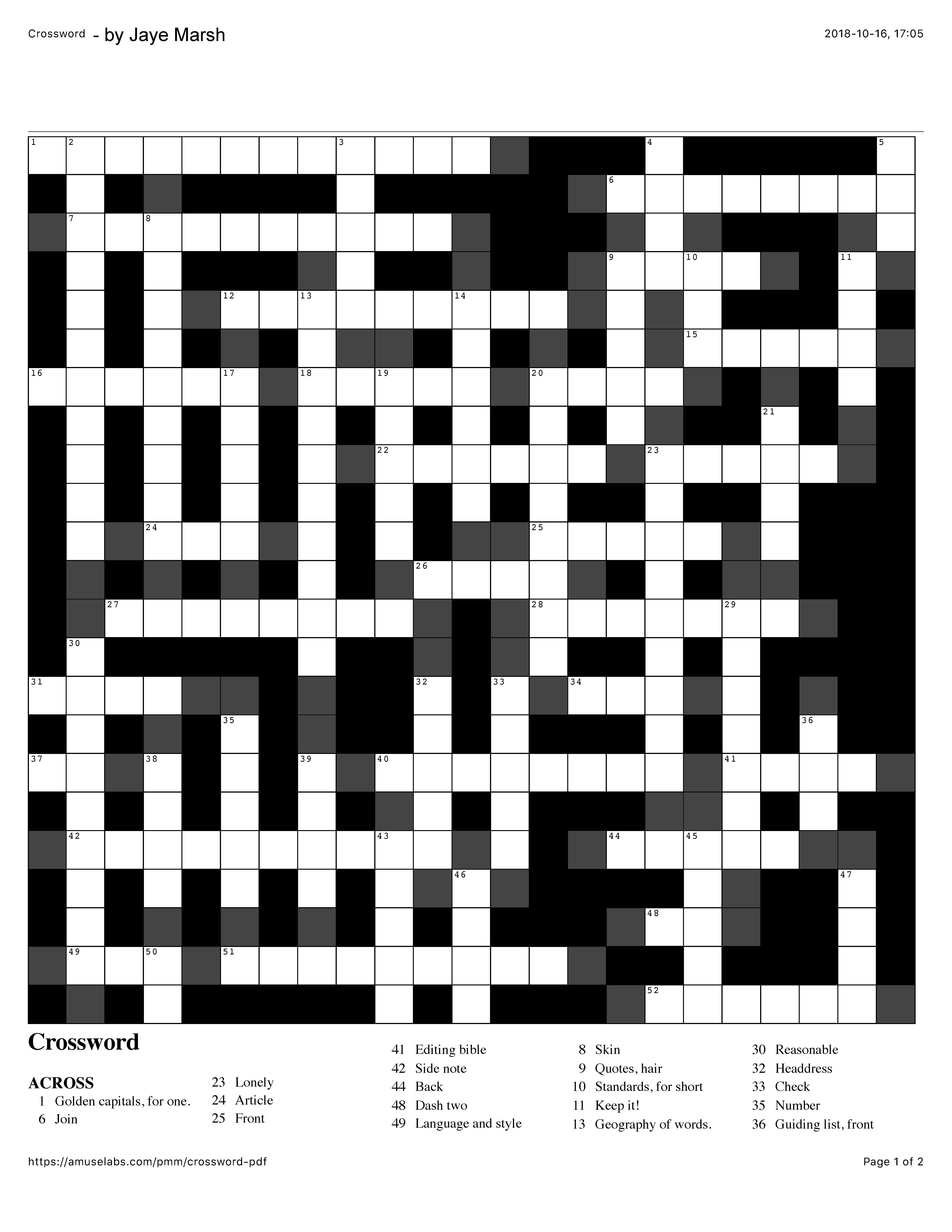 Snapshot of crossword puzzle