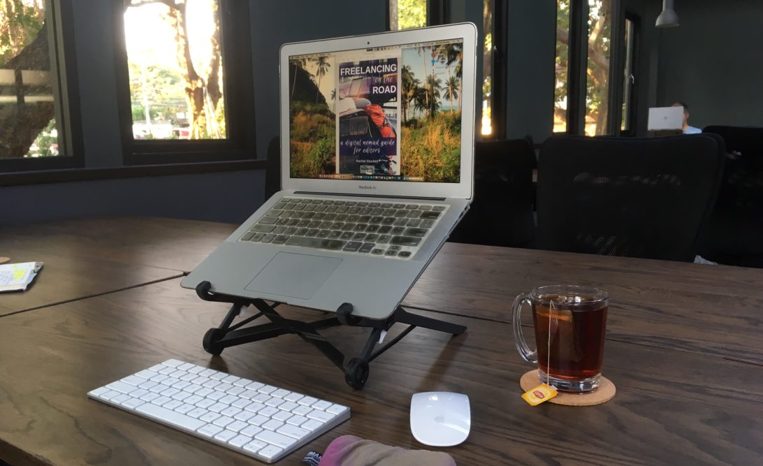 Rachel Stuckey's workspace at Punspace Wiang Kaew co-working space, Chiang Mai, Thailand, January 2018