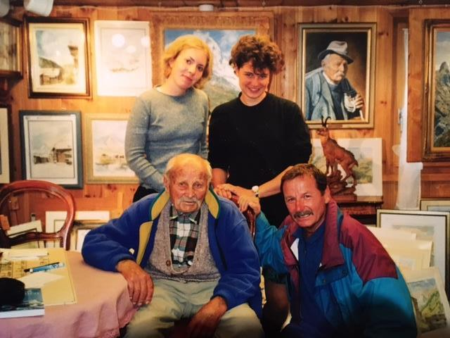 Me (age 16), my sister, Ulrich Inderbinen, and my father (back to front, left to right). Ulrich was a Swiss mountain guide who climbed the Matterhorn over 370 times.